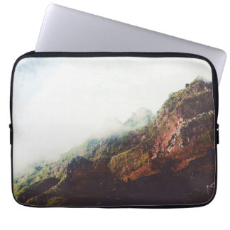 Misty Mountains, Relaxing Nature Landscape Scene Laptop Sleeve