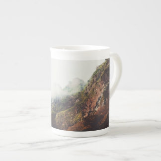 Misty Mountains, Relaxing Nature Landscape Scene Tea Cup
