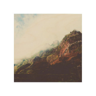 Misty Mountains, Relaxing Nature Landscape Scene Wood Print