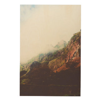 Misty Mountains, Relaxing Nature Landscape Scene Wood Wall Art