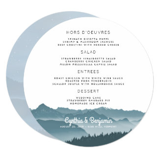 Misty Mountains Round Wedding Menu Template