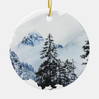 Misty peak Watercolor Ceramic Ornament