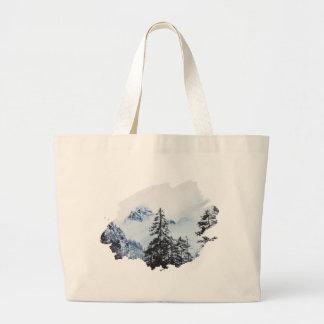 Misty peak Watercolor Large Tote Bag