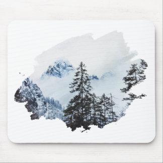 Misty peak Watercolor Mouse Pad
