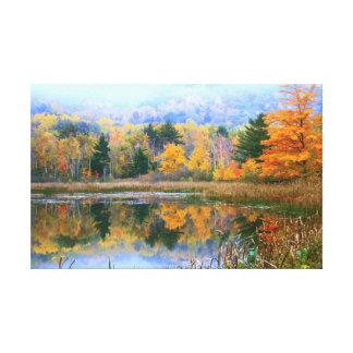 Misty Pond Autumn Landscape, Acadia National Park Canvas Print