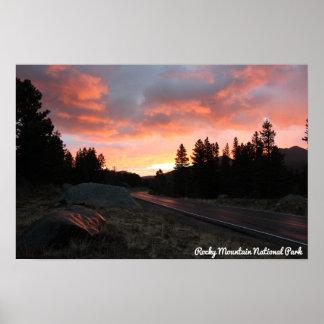 Misty Sunrise at Rocky Mountain Nat'l Park Poster