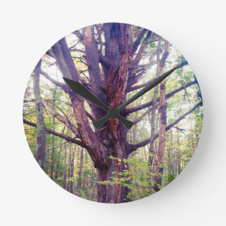 Misty Tree Round Clock