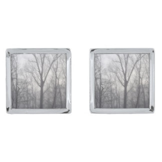 Misty Trees Silver Finish Cufflinks