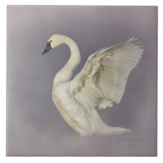 Misty Tundra Swan Ceramic Tile