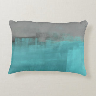 'Misty' Turquoise and Grey Abstract Art Decorative Cushion