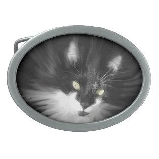 Misty Tuxedo Cat Belt Buckles