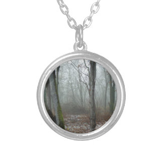 Misty Wood Silver Plated Necklace