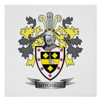 Mitchell Family Crest Coat of Arms Poster