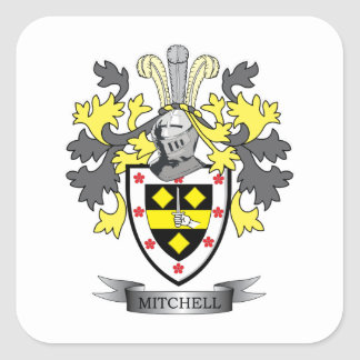 Mitchell Family Crest Coat of Arms Square Sticker