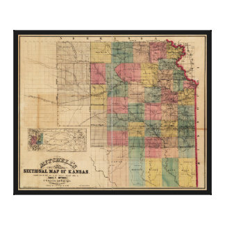 Mitchell's Sectional Map of Kansas (1859) Canvas Print