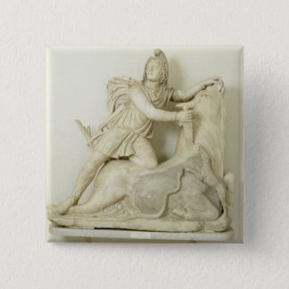 Mithras Sacrificing the Bull, Marble relief, Roman 15 Cm Square Badge