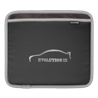 Mitsubihsi Evo 9 Logo with Faux Carbon Fiber Sleeve For iPads