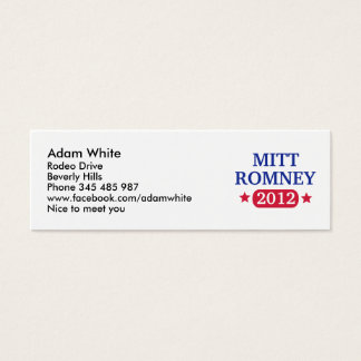 Mitt Romney 2012 Mini Business Card
