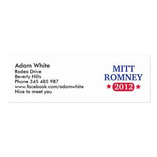 Mitt Romney 2012 Pack Of Skinny Business Cards
