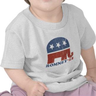 Mitt Romney 2012 Republican Elephant Vintage Tee Shirt