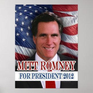 Mitt Romney 2012 Waving Flag Background Poster