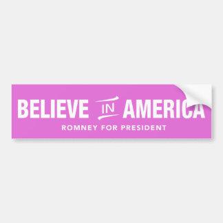 Mitt Romney Believe In America Bumper Sticker Pink