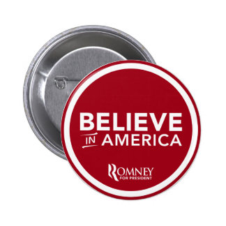 Mitt Romney Believe In America (Dark Red) 6 Cm Round Badge