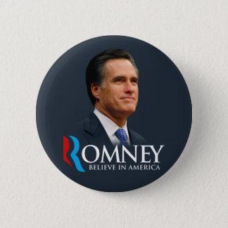 Mitt Romney Believe In America Portrait Dark Blue 6 Cm Round Badge