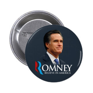 Mitt Romney Believe In America Portrait Dark Blue 6 Cm Round Badge