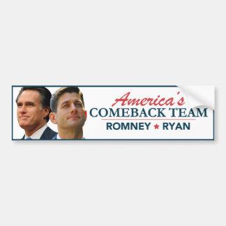 Mitt Romney Paul Ryan America's Comeback Team Bumper Sticker