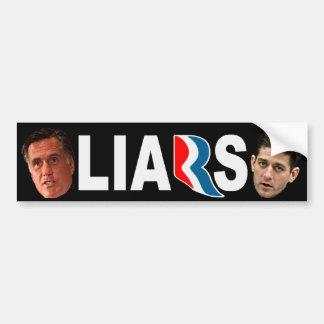 Mitt Romney Paul Ryan LIARS Bumper Sticker