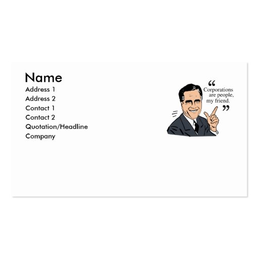 Mitt Romney Quotes color Business Card