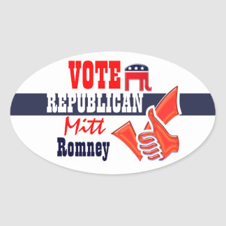 Mitt Romney vote Republican thumbs up Oval Sticker