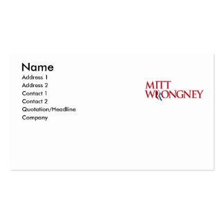 Mitt Wrongney Pack Of Standard Business Cards