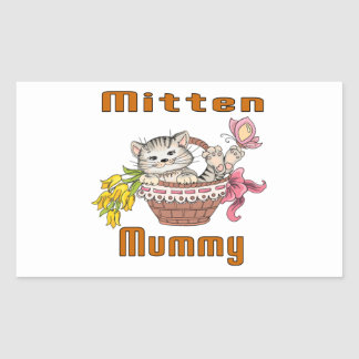 Mitten Cat Mom Rectangular Sticker