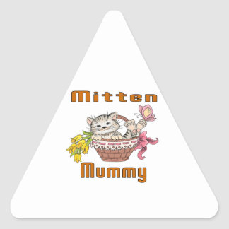 Mitten Cat Mom Triangle Sticker