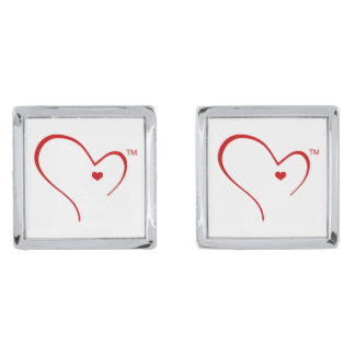 Mittens for Detroit Heart Logo Square Cufflinks Silver Finish Cuff Links