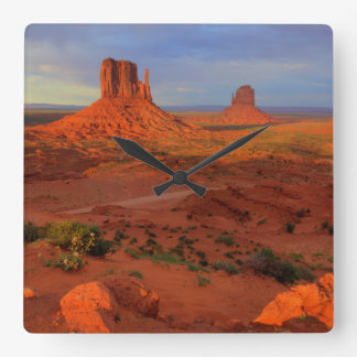 Mittens, Monument valley, AZ Square Wall Clock