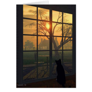 Mittens Wills the Sun to Set Card