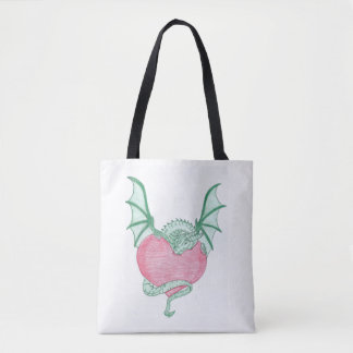 Mix of dragon holding on to my heart and I love u Tote Bag