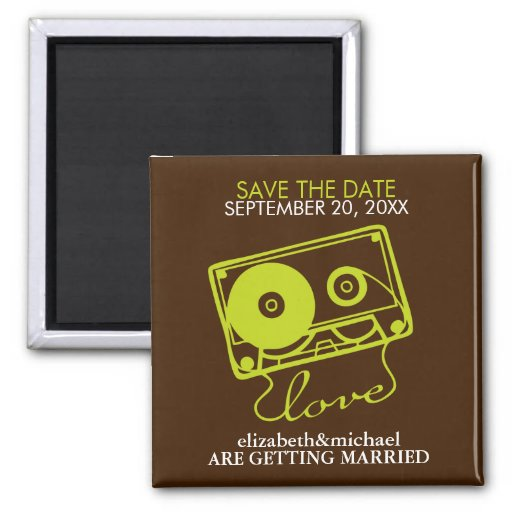 Mix tape of Love Save the Date Announcements Magnet