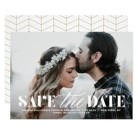 Mix Typography Modern Photo Save the Date Card