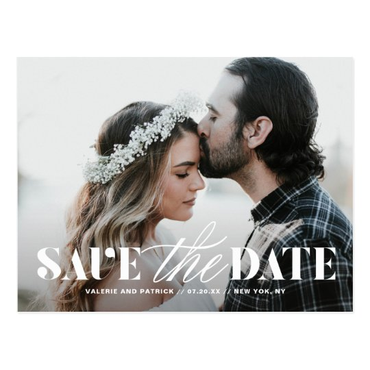 Mix Typography Modern Photo Save the Date Postcard