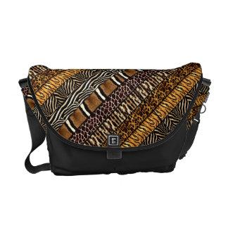 Mixed Animal Zebra Leopard Tiger Print Courier Bag