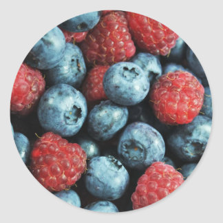 Mixed berries (blueberries and raspberries) design classic round sticker