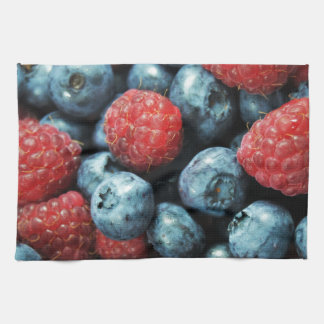 Mixed berries (blueberries and raspberries) design tea towel
