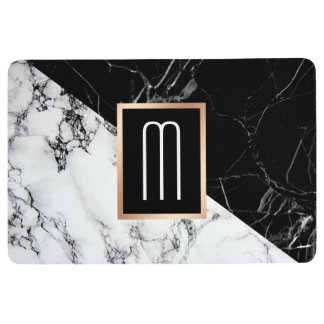 Mixed Black White Marble Texture Monogram Floor Mat