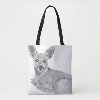 Mixed breed dog relaxing tote bag