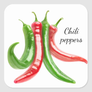 Mixed chili peppers square sticker