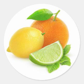 Mixed citrus fruits classic round sticker